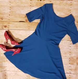 Adorable fit and flare blue dress.